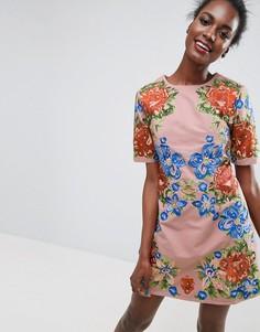 Цельнокройное платье мини с вышивкой ASOS Premium - Бежевый