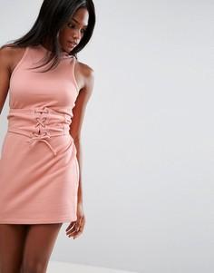 Платье мини с лифом-корсетом без рукавов с открытой спиной ASOS - Розовый