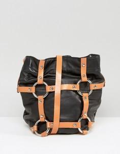 Кожаная сумка через плечо с ремешками Sacred Hawk - Черный