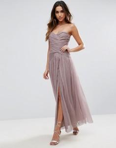 Платье макси с лифом-бандо и присборенной отделкой Little Mistress - Розовый