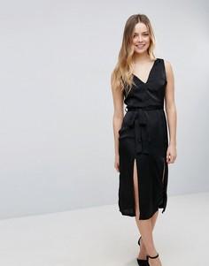 Атласное платье с двумя разрезами Neon Rose - Черный