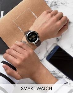 Смарт-часы с коричневым кожаным ремешком Fossil Q FTW2119 Founder - Коричневый