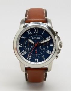 Часы со светло-коричневым кожаным ремешком Fossil Grant FS5210 - Рыжий