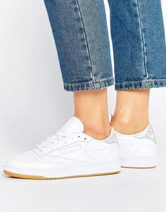 Белые кроссовки с блестящей отделкой Reebok Club C - Белый