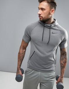 Худи серого цвета с короткими рукавами Nike Training 833898-038 - Серый