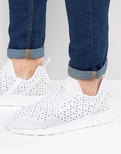 Мужские белые кроссовки с асимметричной шнуровкой adidas Originals ZX Flux - Белый