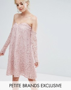 Свободное платье с открытыми плечами и пайетками Chi Chi London Petite - Фиолетовый