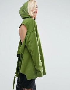 Худи с открытой спиной и узелком ASOS - Зеленый