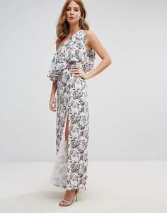Платье на одно плечо с пуговицей и цветочным принтом Millie Mackintosh Swiss - Мульти