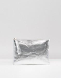 Клатч с эффектом металлик South Beach - Серебряный