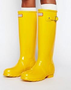 Желтые высокие резиновые сапоги Hunter Original - Желтый