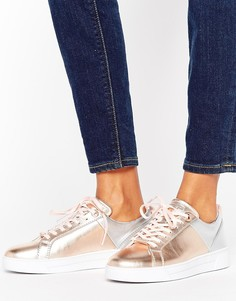 Кожаные кроссовки цвета металлик Ted Baker - Золотой