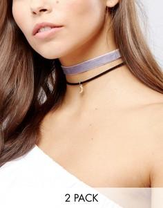 2 ожерелья-чокер (из бархата / с полумесяцем) ASOS - Фиолетовый