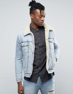 Джинсовая куртка на подкладке из искусственного меха Rollas - Синий