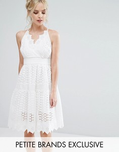 Пышное кружевное платье для выпускного с запахом True Decadence Petite - Белый