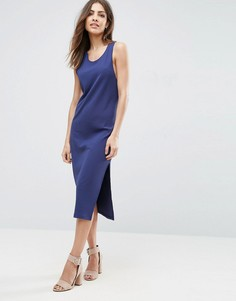 Платье-майка миди в рубчик с углубленной проймой ASOS - Темно-синий