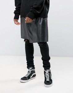 Черная юбка-килт из искусственной кожи Granted - Черный