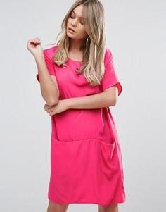 Свободное платье-футболка Oh My Love - Розовый