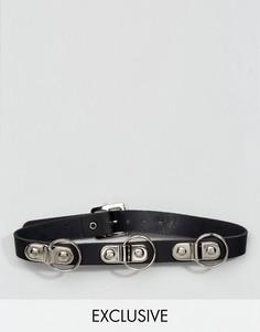 Кожаный чокер с кольцами Reclaimed Vintage Inspired - Черный