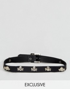 Кожаный чокер с черепами Reclaimed Vintage Inspired - Черный
