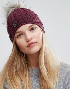 Бордовая вязаная шапка с помпоном Calvin Klein - Красный