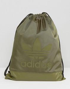 Рюкзак цвета хаки на шнурке adidas Originals - Зеленый