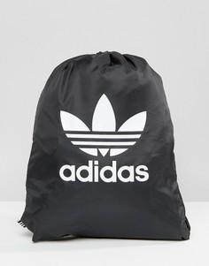 Черный рюкзак на шнурке с логотипом-трилистником adidas Originals - Черный