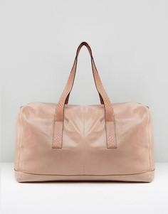 Розовая кожаная сумка с отделкой под змеиную кожу на ручках Urbancode - Розовый