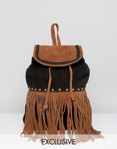 Замшевый рюкзак с заклепками и бахромой Reclaimed Vintage - Черный