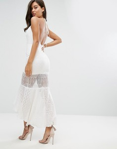 Жаккардовое платье миди с кружевной вставкой Dark Pink - Белый