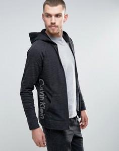 Худи на молнии с логотипом Calvin Klein - Черный