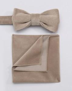 Бархатный галстук-бабочка и платок для пиджака Devils Advocate - Коричневый