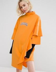 Платье-футболка с высоким воротом и оборками STYLENANDA - Желтый