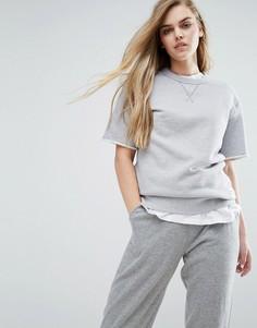 Серый свитшот с короткими рукавами Converse Premium Essentials - Серый