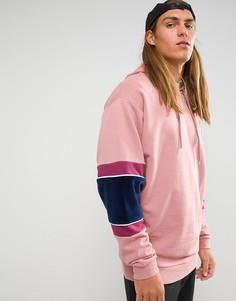 Oversize-худи с велюровой отделкой ASOS - Розовый