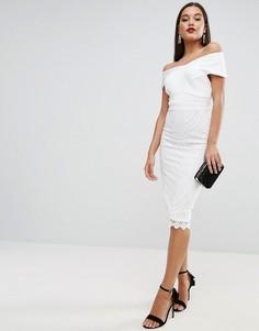 Платье миди с перекрестным топом и кружевной юбкой ASOS - Белый