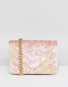 Стеганая бархатная сумка через плечо с вышивкой ASOS - Розовый