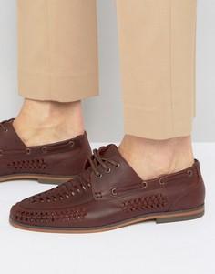 Бордовые кожаные ботинки на шнуровке с плетеной отделкой ASOS - Красный