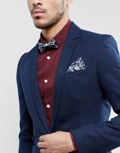 Галстук-бабочка и платок для нагрудного кармана с принтом Gianni Feraud Liberty - Темно-синий