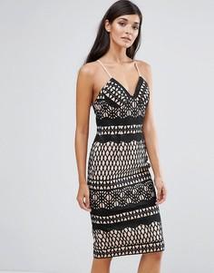 Кружевное облегающее платье Aijek - Черный