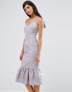 Кружевное платье с баской по низу Aijek - Фиолетовый