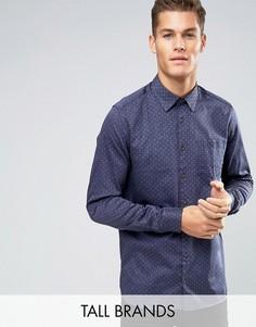 Джинсовая рубашка узкого кроя с принтом Ted Baker TALL - Темно-синий
