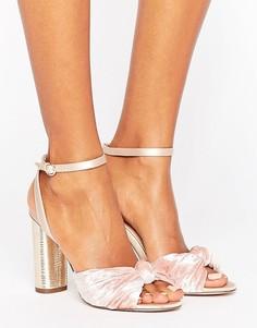 Бархатные босоножки на каблуке Office - Розовый