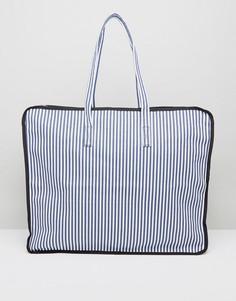 Большая пляжная сумка в полоску (темно-синий/белый) ASOS HERO - Мульти