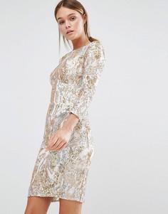 Платье мини с рукавами 3/4 и узором из пайеток Little Mistress - Золотой