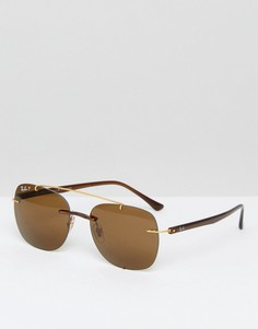 Золотистые солнцезащитные очки-авиаторы Ray-Ban 0RB4280 - Золотой