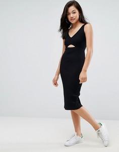 Облегающее платье миди с ажурной отделкой и эластичным поясом ASOS - Черный