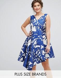 Пышное платье миди с пальмовым принтом Coast Plus - Мульти