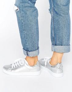Кроссовки с серебристыми блестками Missguided - Серебряный