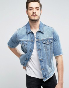 Выбеленная джинсовая куртка с обрезанными рукавами ASOS - Синий